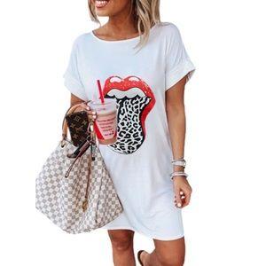 White Lip Print Summer Casual Tee Mini Dress